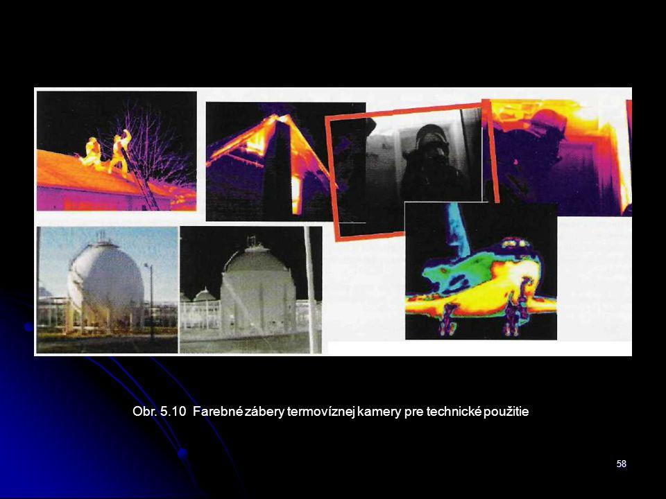 Obr. 5.10 Farebné zábery termovíznej kamery pre technické použitie