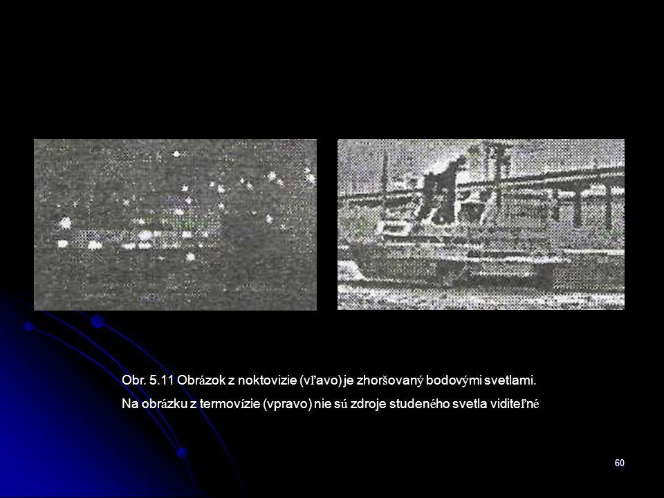 Obr. 5.11 Obrázok z noktovizie (vľavo) je zhoršovaný bodovými svetlami.