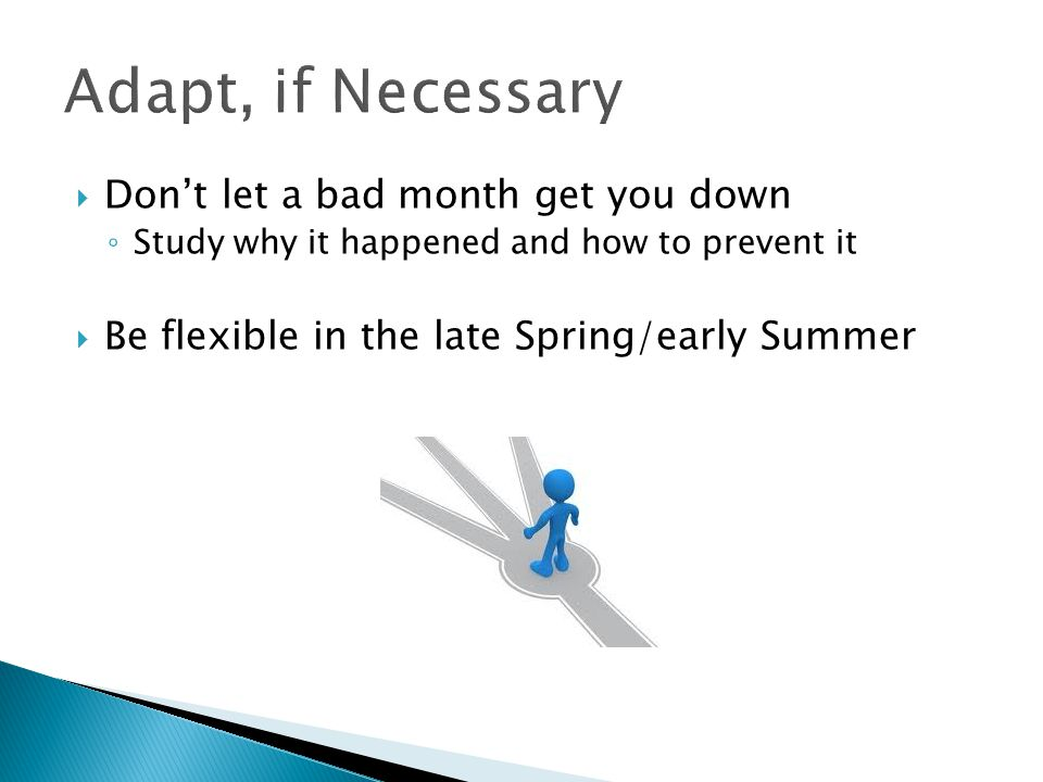 Adapt, if Necessary Don't let a bad month get you down