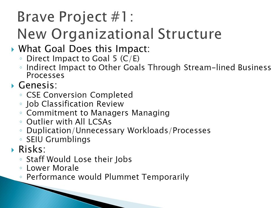 Brave Project #1: New Organizational Structure