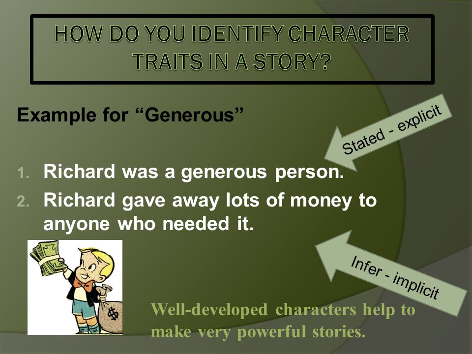 How do you identify character traits in a story