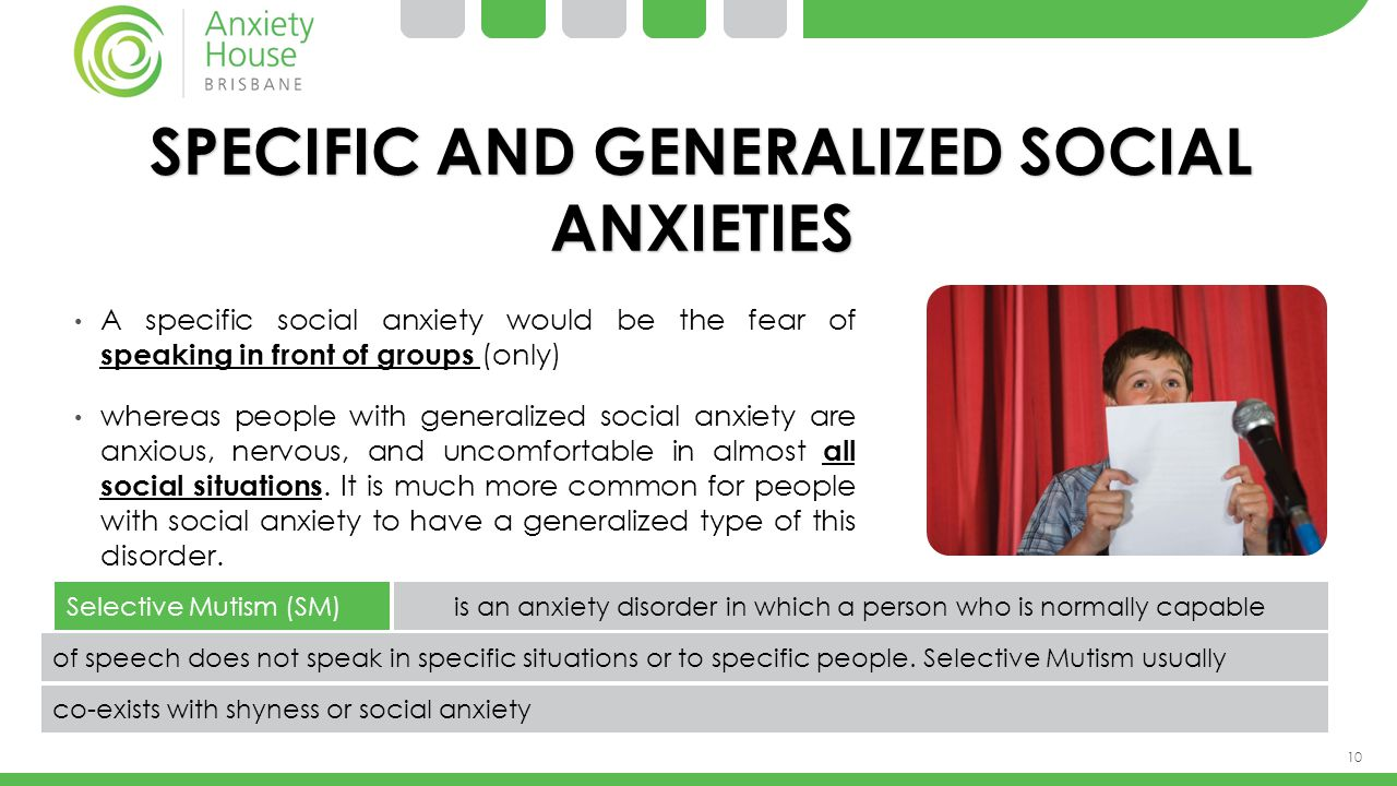 SPECIFIC AND GENERALIZED SOCIAL ANXIETIES