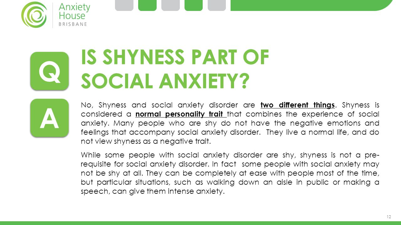 Q A Is shyness part of SOCIAL anxiety