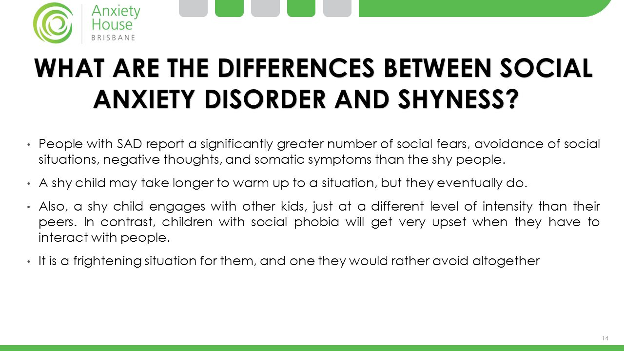 WHAT ARE THE DIFFERENCES BETWEEN SOCIAL ANXIETY DISORDER AND SHYNESS