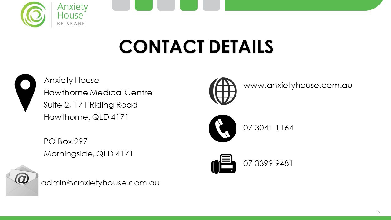 CONTACT DETAILS Anxiety House Hawthorne Medical Centre