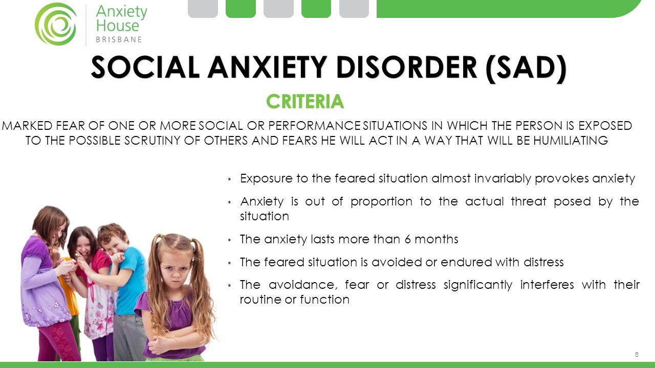 SOCIAL ANXIETY DISORDER (SAD)