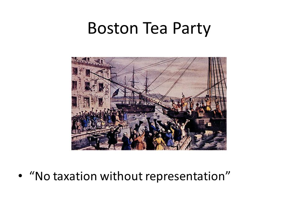 Boston Tea Party No taxation without representation