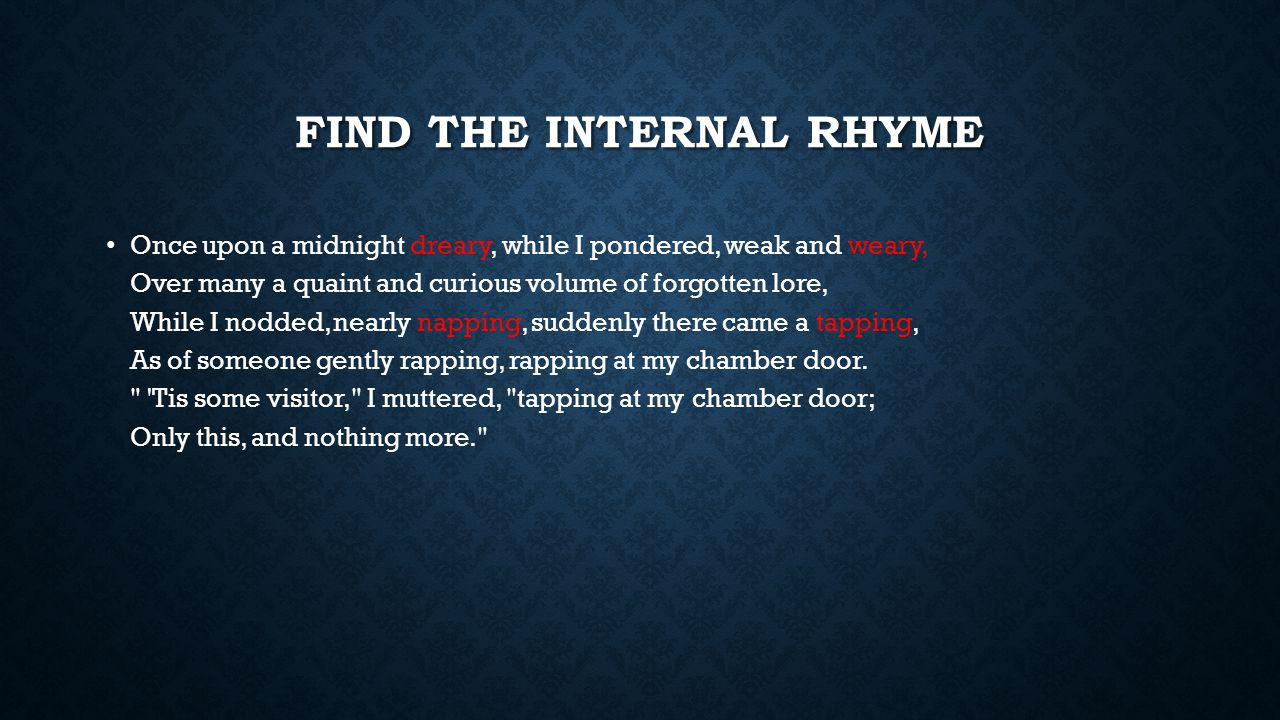 Find the internal rhyme