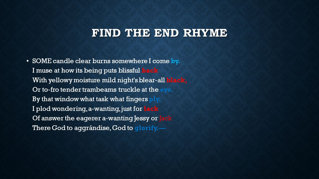 Find the end rhyme