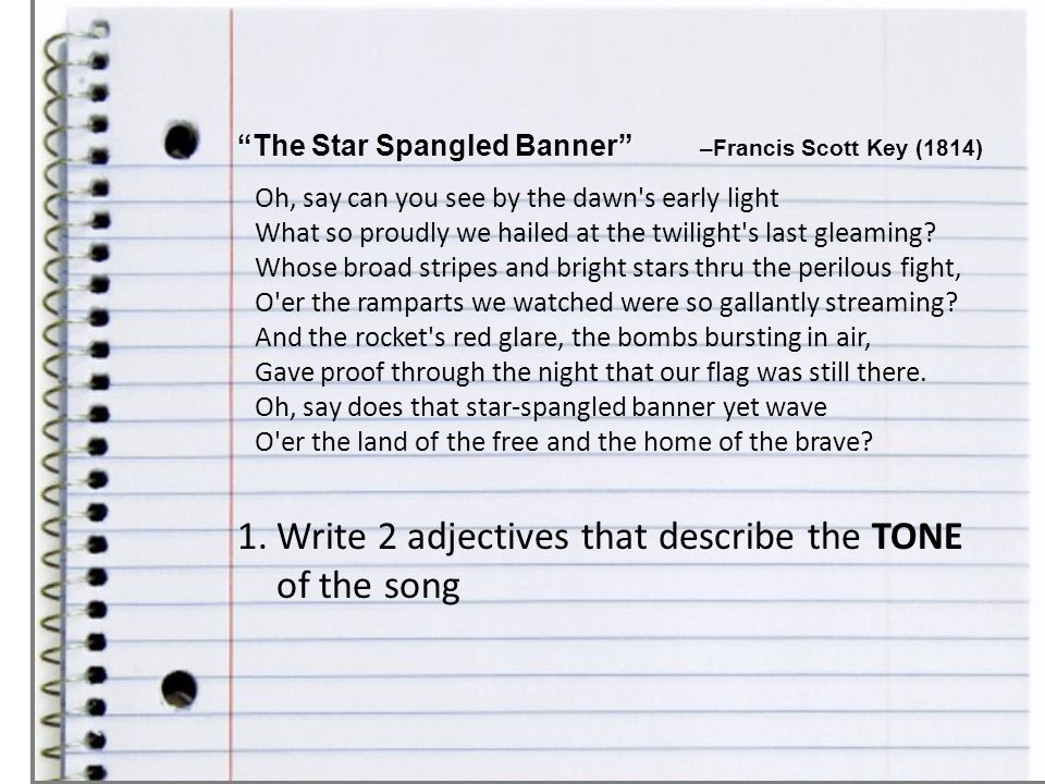 Write 2 adjectives that describe the TONE of the song