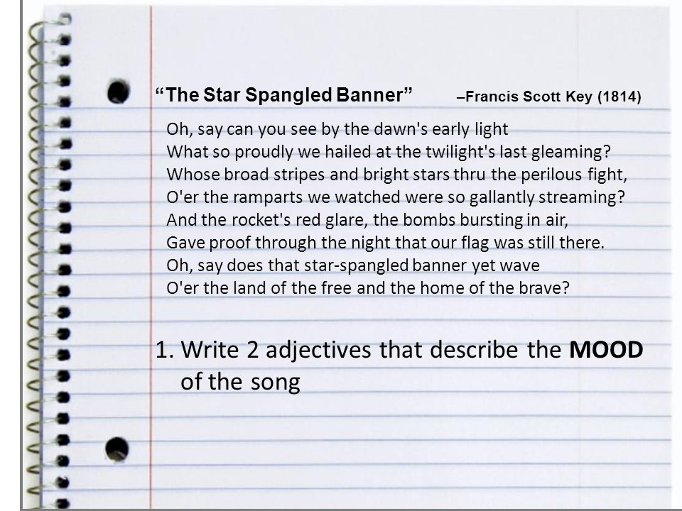 Write 2 adjectives that describe the MOOD of the song