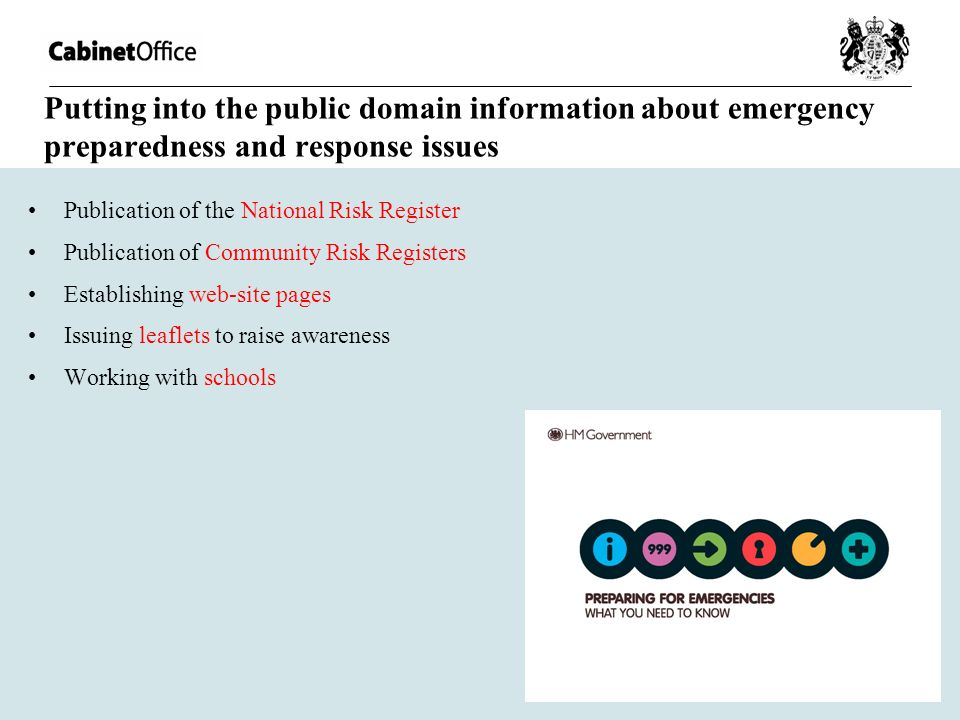 Putting into the public domain information about emergency preparedness and response issues