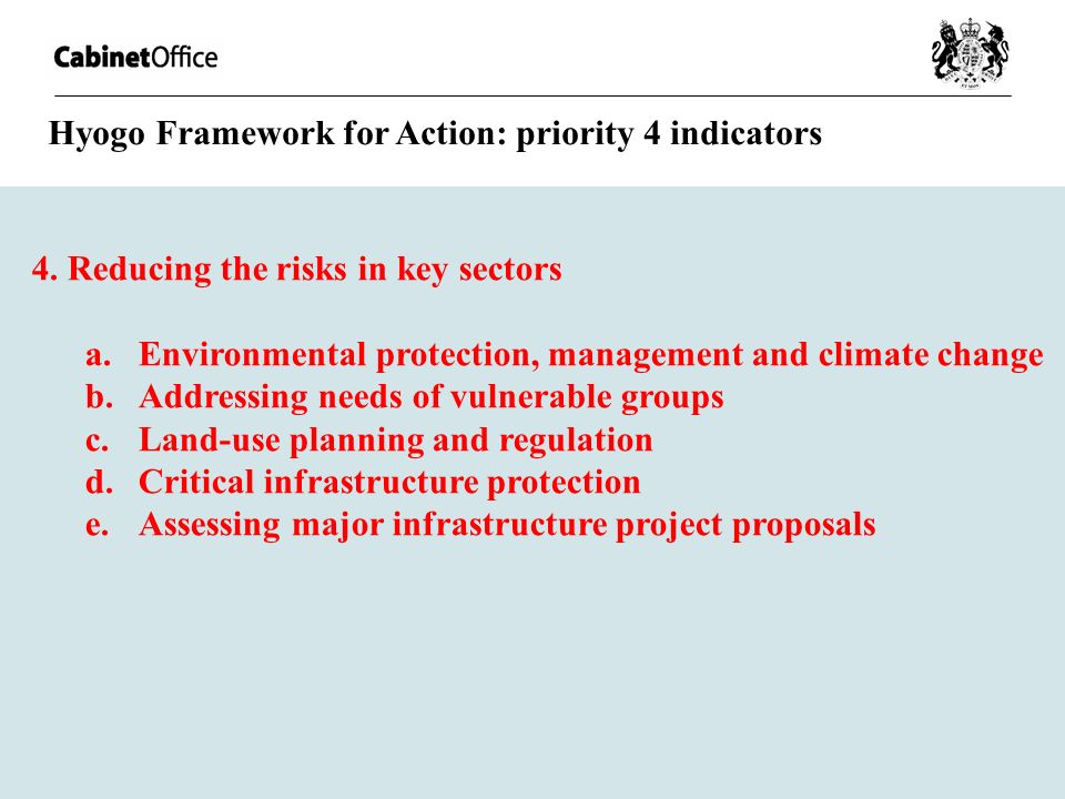 Hyogo Framework for Action: priority 4 indicators