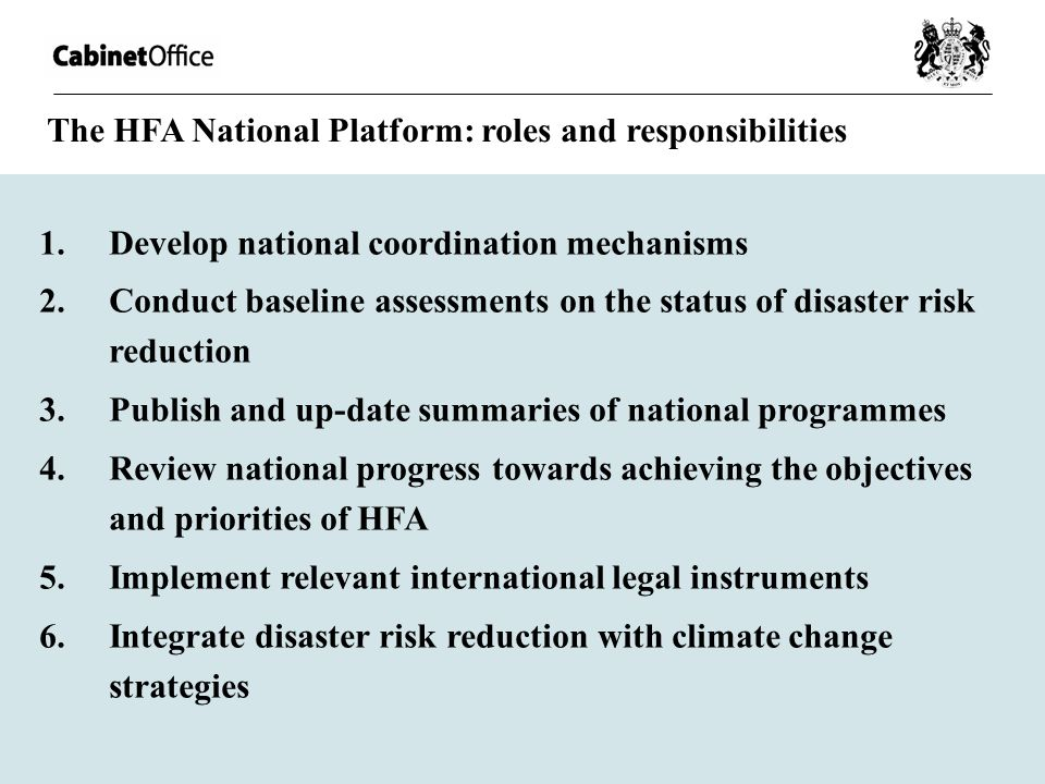 The HFA National Platform: roles and responsibilities