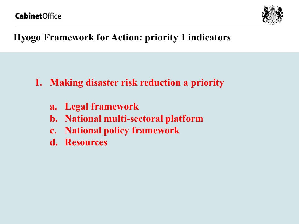 Hyogo Framework for Action: priority 1 indicators