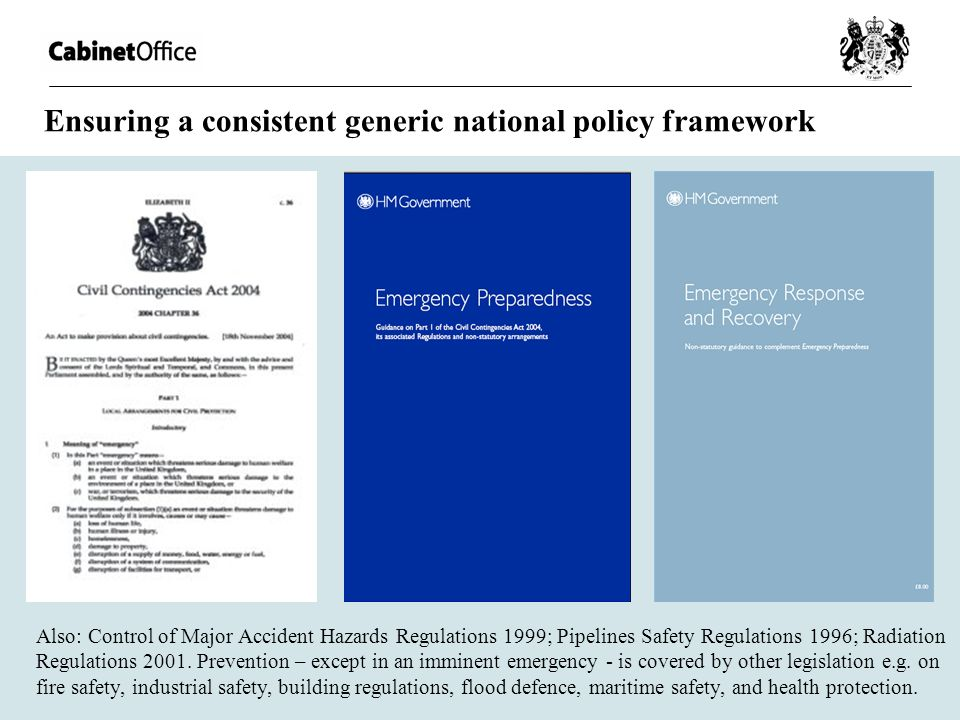 Ensuring a consistent generic national policy framework