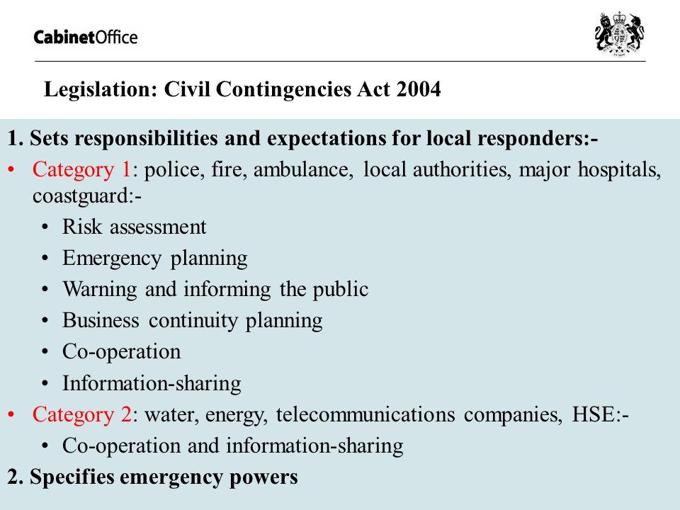 Legislation: Civil Contingencies Act 2004