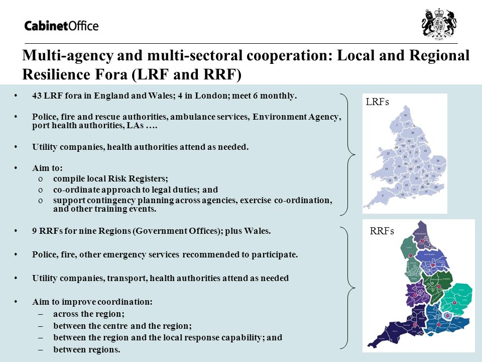 Multi-agency and multi-sectoral cooperation: Local and Regional Resilience Fora (LRF and RRF)