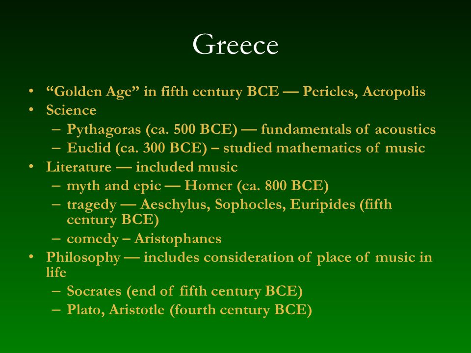 Greece Golden Age in fifth century BCE — Pericles, Acropolis Science