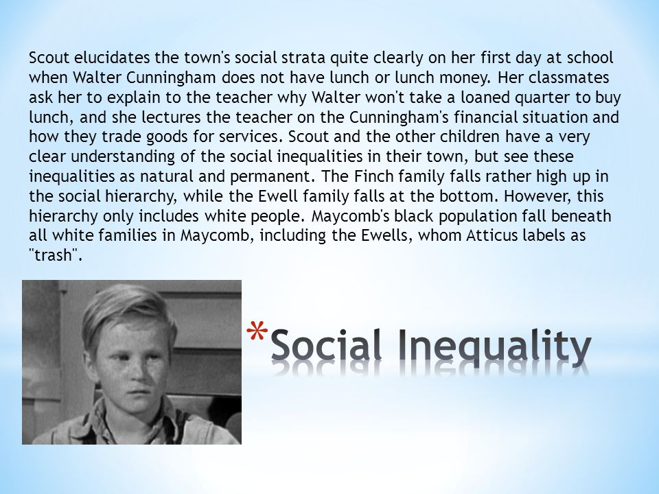 Scout elucidates the town s social strata quite clearly on her first day at school when Walter Cunningham does not have lunch or lunch money. Her classmates ask her to explain to the teacher why Walter won t take a loaned quarter to buy lunch, and she lectures the teacher on the Cunningham s financial situation and how they trade goods for services. Scout and the other children have a very clear understanding of the social inequalities in their town, but see these inequalities as natural and permanent. The Finch family falls rather high up in the social hierarchy, while the Ewell family falls at the bottom. However, this hierarchy only includes white people. Maycomb s black population fall beneath all white families in Maycomb, including the Ewells, whom Atticus labels as trash .