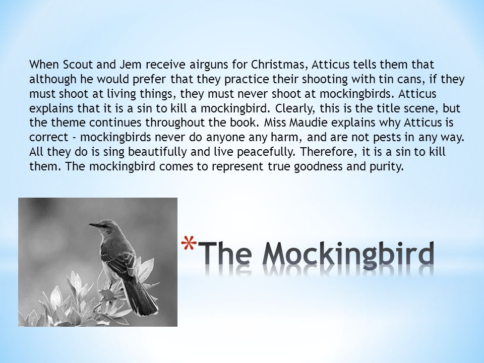 When Scout and Jem receive airguns for Christmas, Atticus tells them that although he would prefer that they practice their shooting with tin cans, if they must shoot at living things, they must never shoot at mockingbirds. Atticus explains that it is a sin to kill a mockingbird. Clearly, this is the title scene, but the theme continues throughout the book. Miss Maudie explains why Atticus is correct - mockingbirds never do anyone any harm, and are not pests in any way. All they do is sing beautifully and live peacefully. Therefore, it is a sin to kill them. The mockingbird comes to represent true goodness and purity.