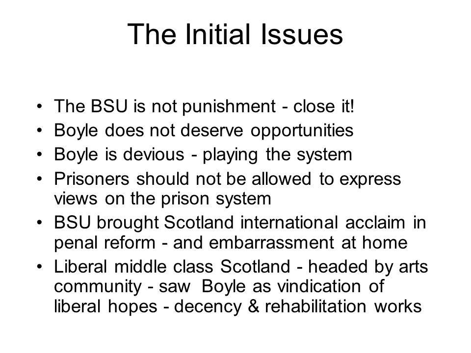 The Initial Issues The BSU is not punishment - close it!