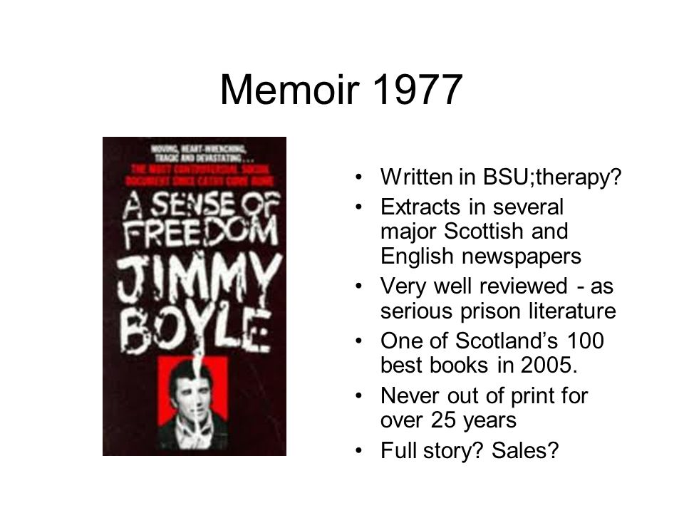Memoir 1977 Written in BSU;therapy