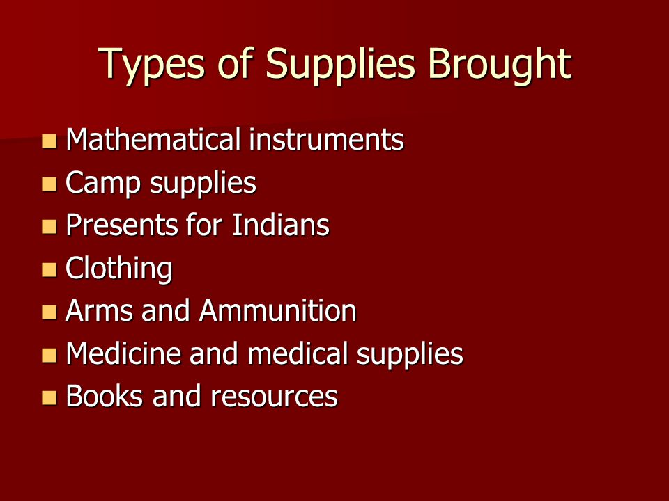 Types of Supplies Brought