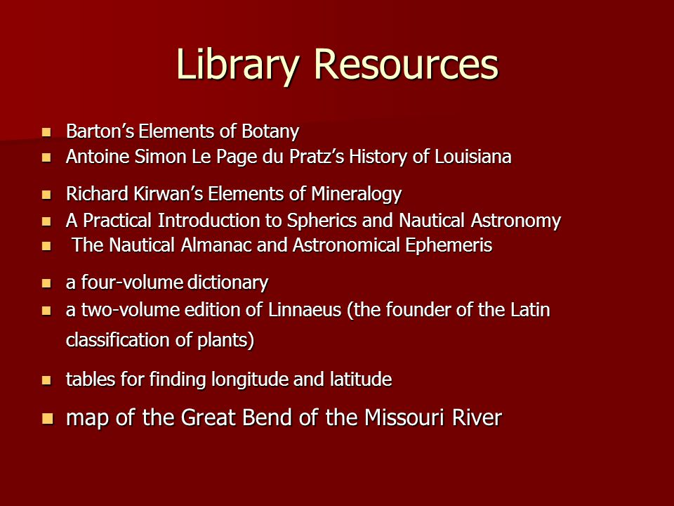 Library Resources map of the Great Bend of the Missouri River