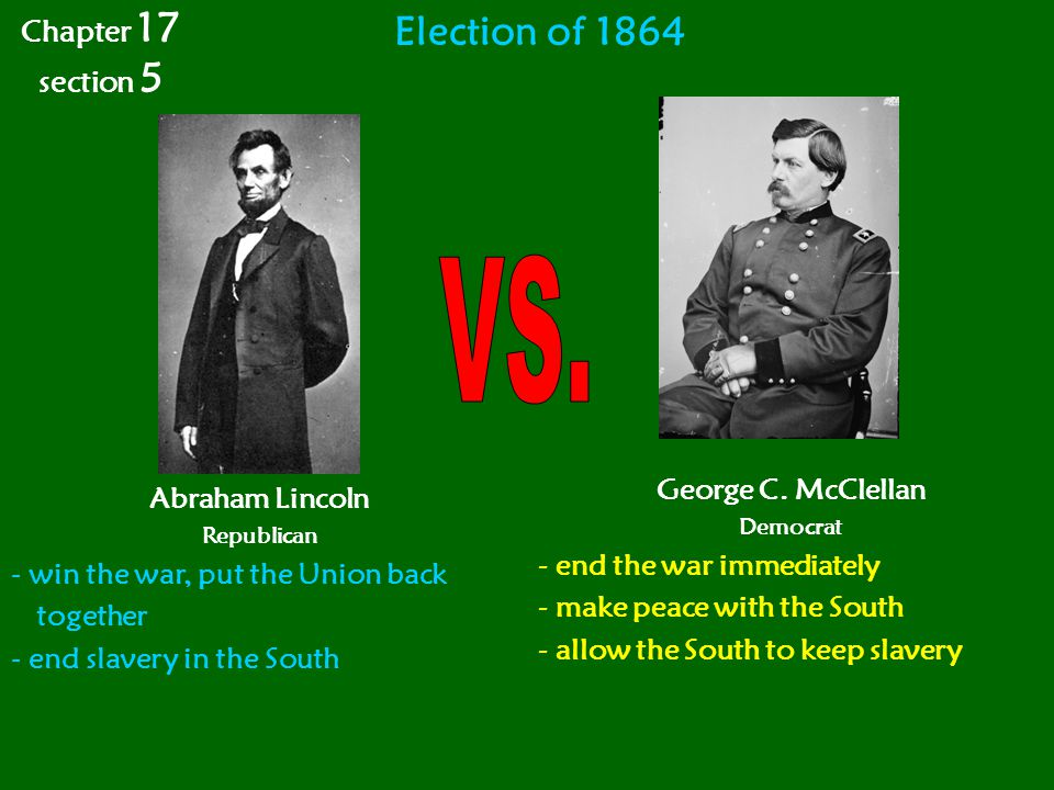 VS. Election of 1864 Chapter 17 section 5 George C. McClellan