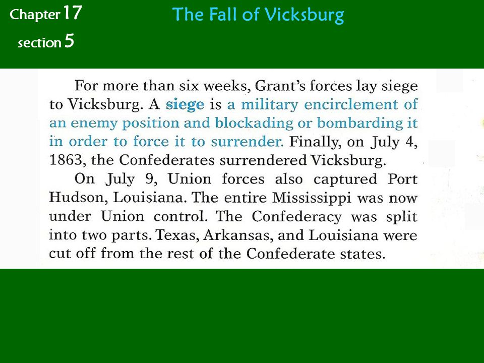 The Fall of Vicksburg Chapter 17 section 5
