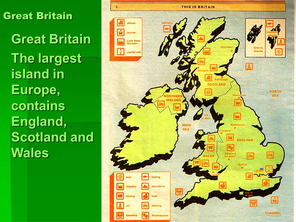 The largest island in Europe, contains England, Scotland and Wales