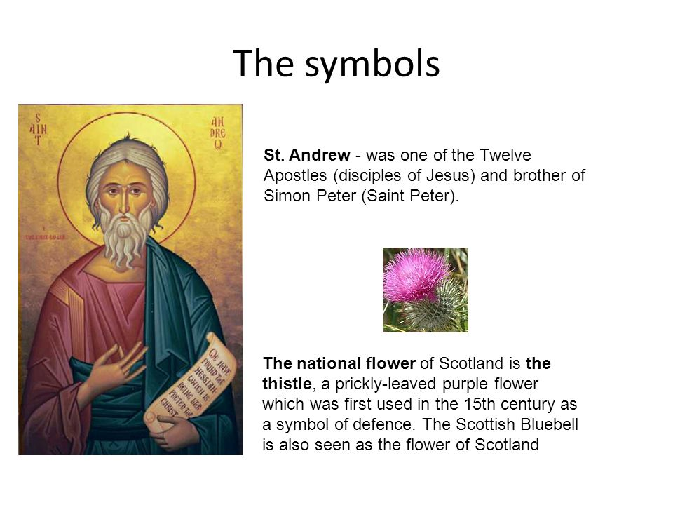 The symbols St. Andrew - was one of the Twelve Apostles (disciples of Jesus) and brother of Simon Peter (Saint Peter).