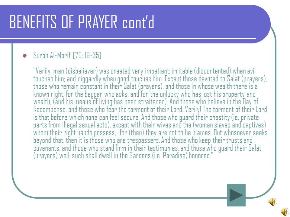 BENEFITS OF PRAYER cont'd