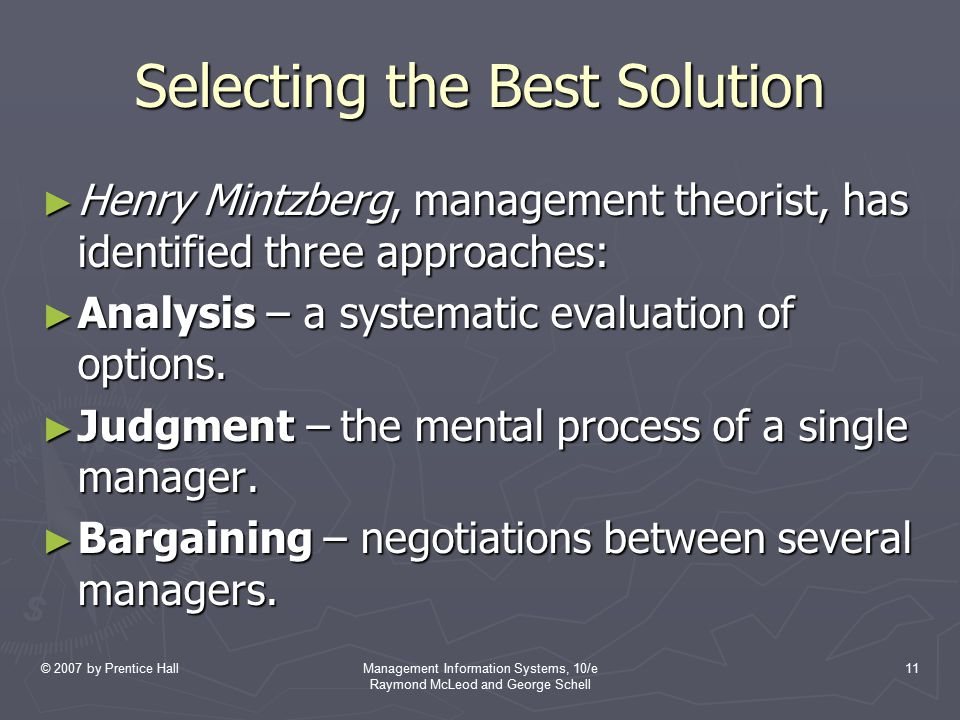 Selecting the Best Solution