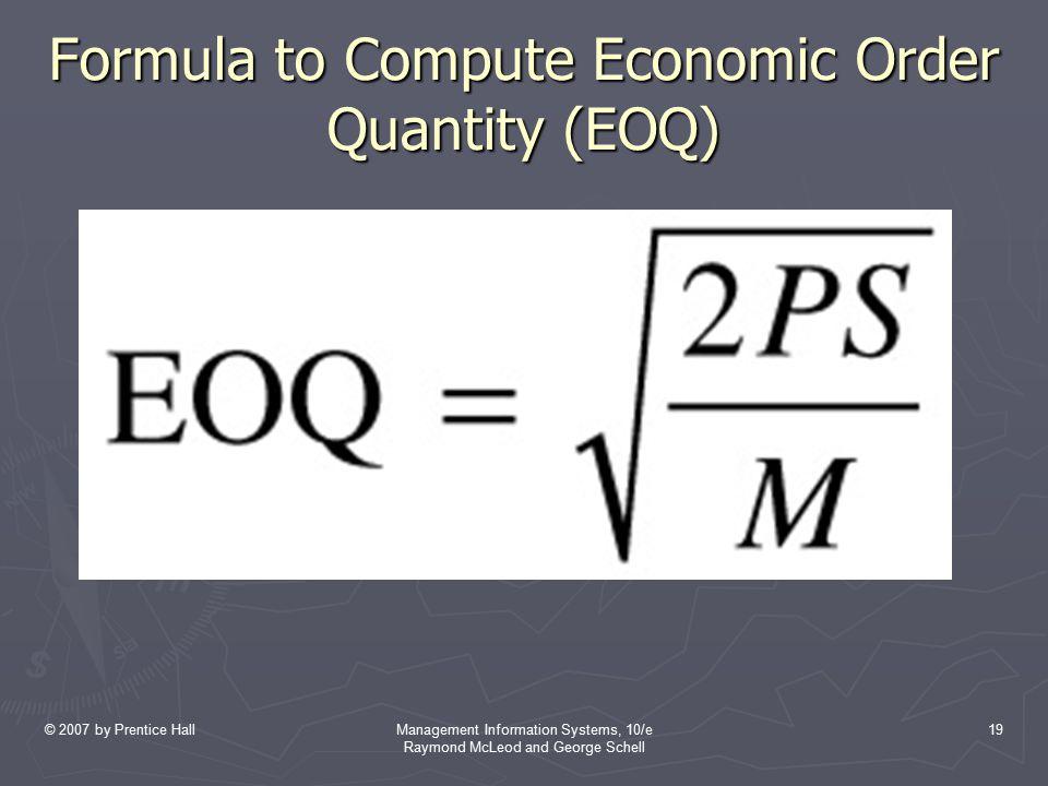 Formula to Compute Economic Order Quantity (EOQ)