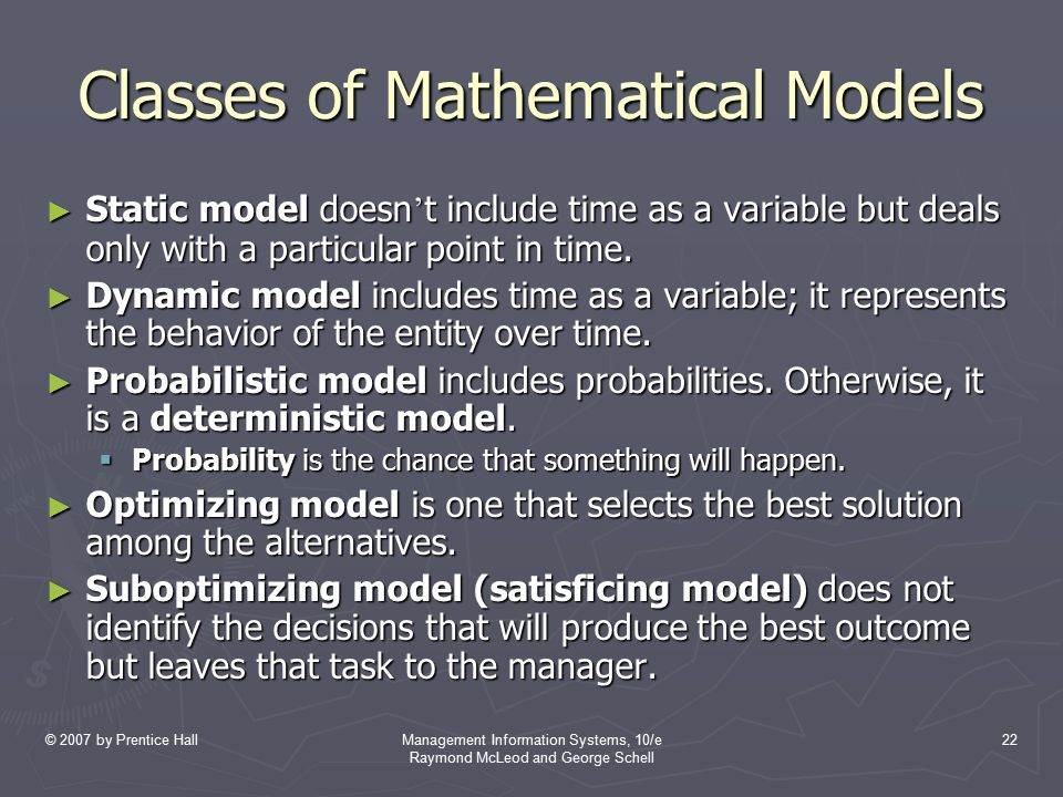 Classes of Mathematical Models