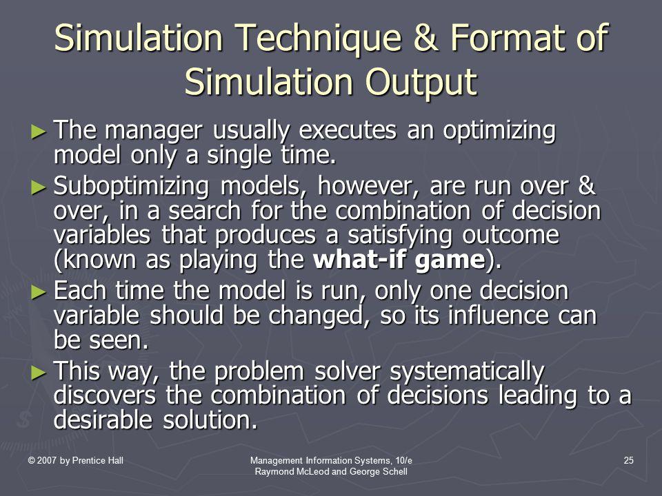 Simulation Technique & Format of Simulation Output