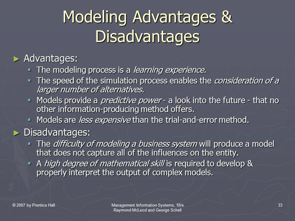 Modeling Advantages & Disadvantages