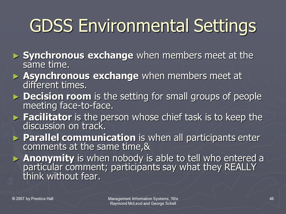 GDSS Environmental Settings