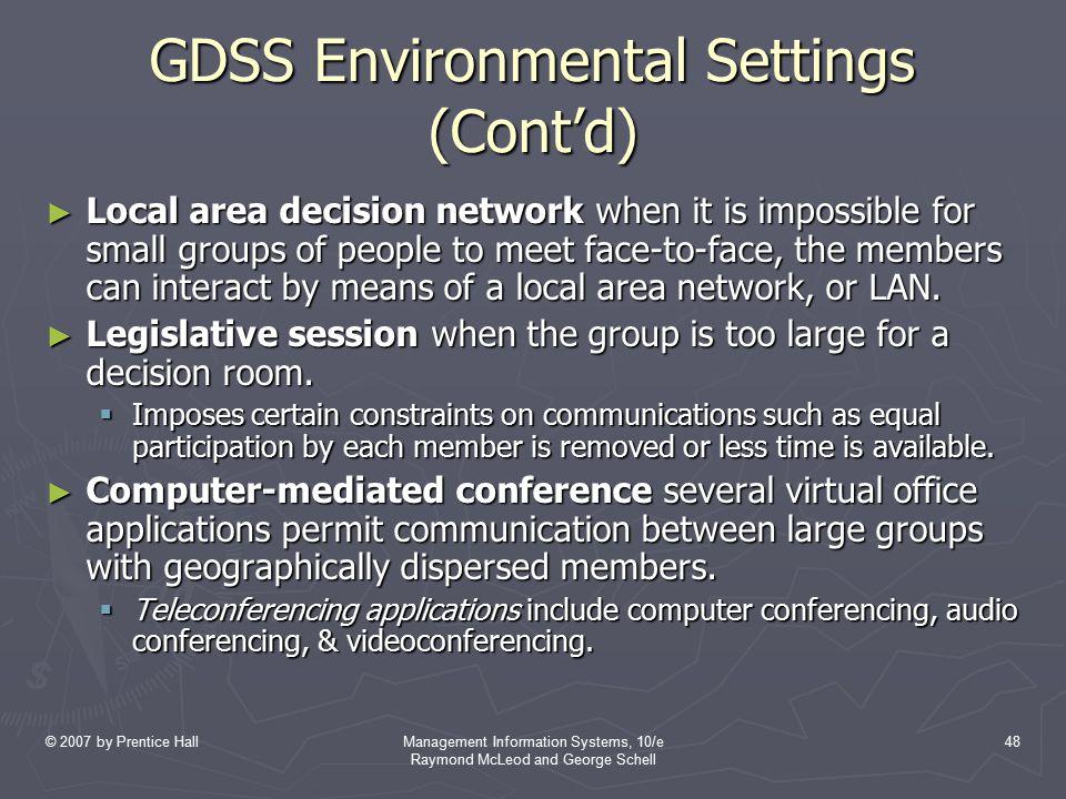GDSS Environmental Settings (Cont'd)
