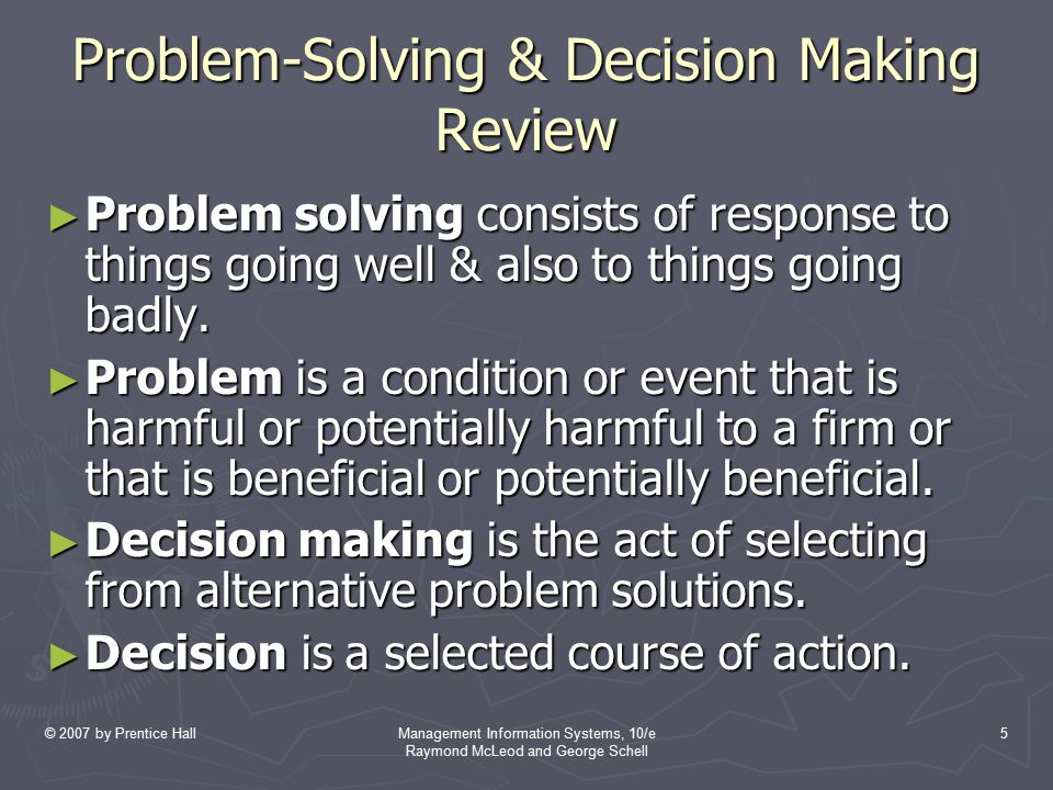 Problem-Solving & Decision Making Review