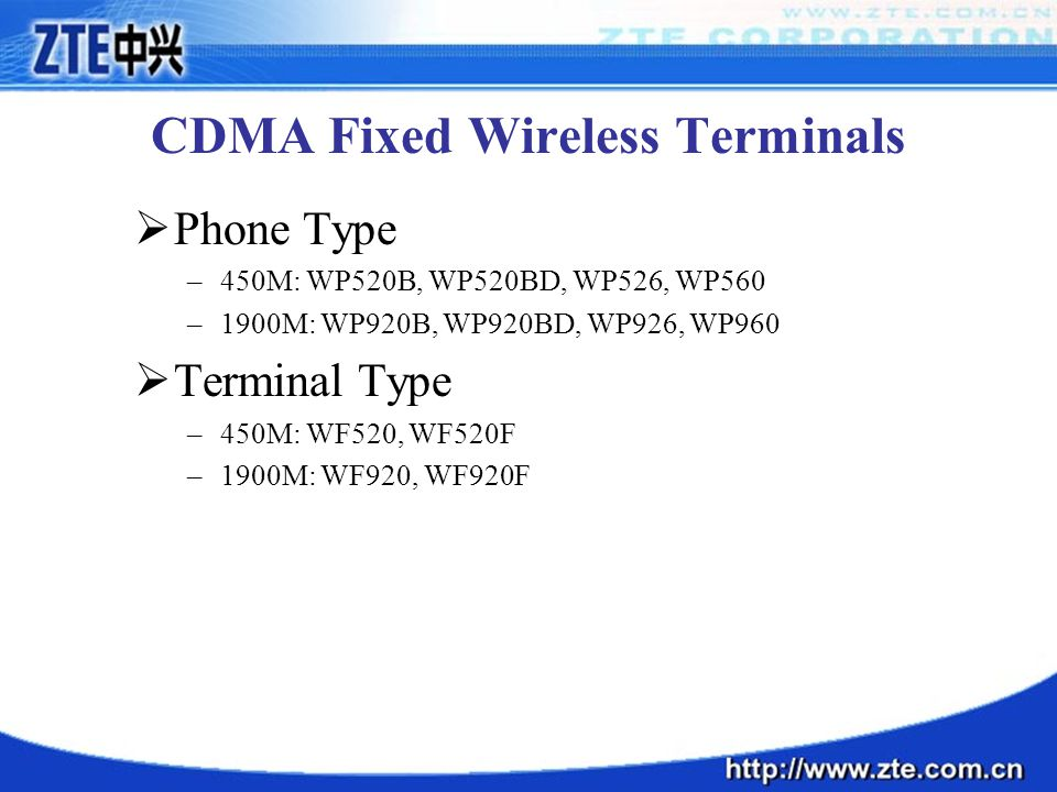 CDMA Fixed Wireless Terminals