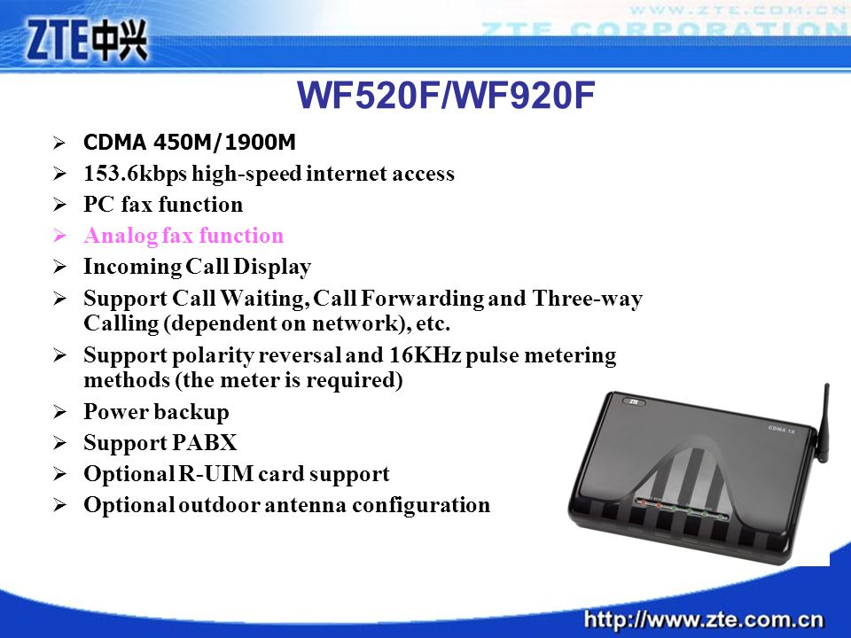 WF520F/WF920F 153.6kbps high-speed internet access PC fax function