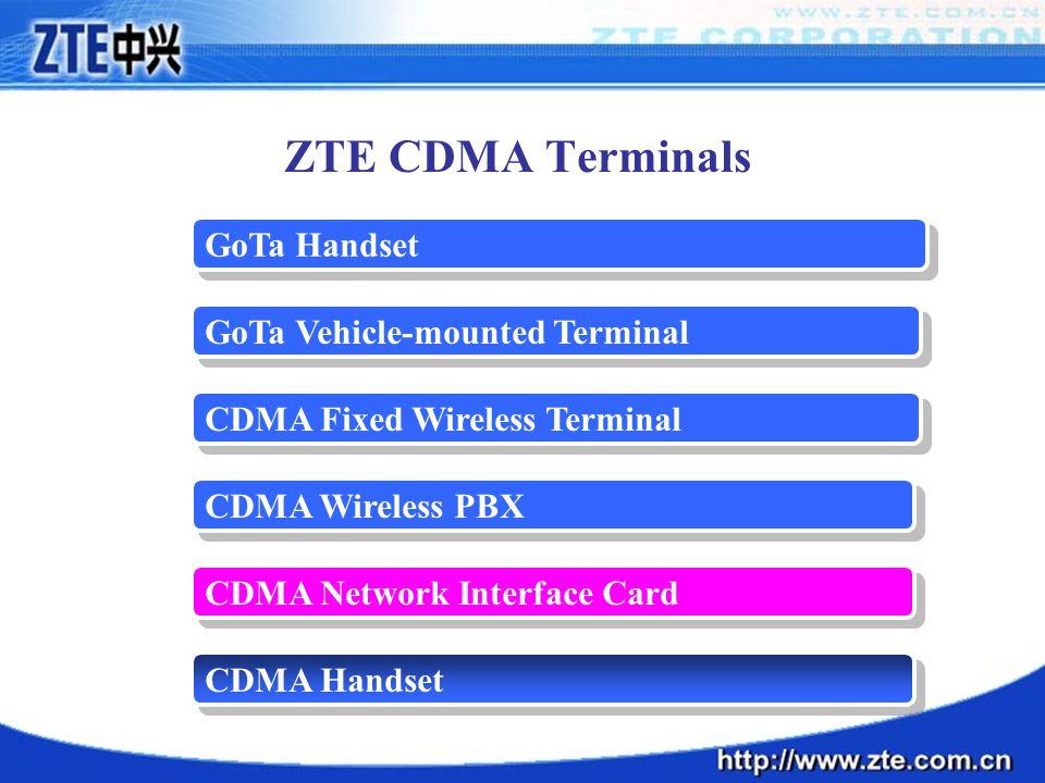 ZTE CDMA Terminals GoTa Handset GoTa Vehicle-mounted Terminal