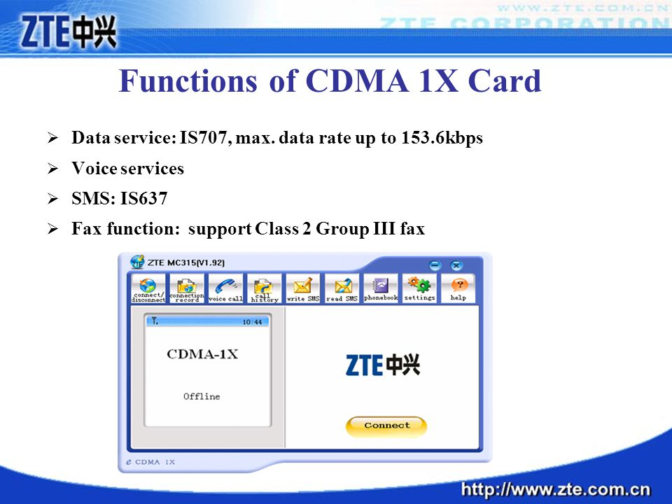 Functions of CDMA 1X Card