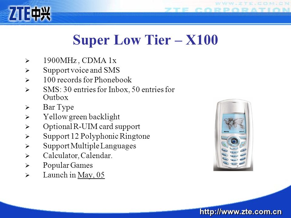 Super Low Tier – X100 1900MHz , CDMA 1x Support voice and SMS