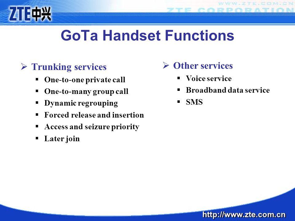 GoTa Handset Functions