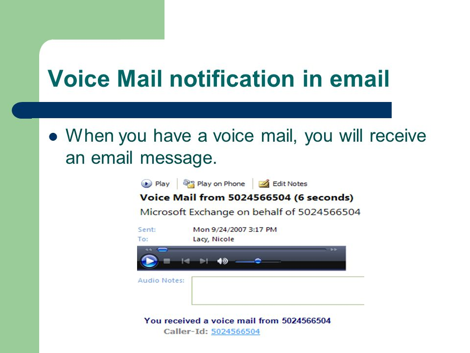 Voice Mail notification in email