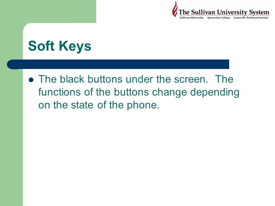 Soft Keys The black buttons under the screen.